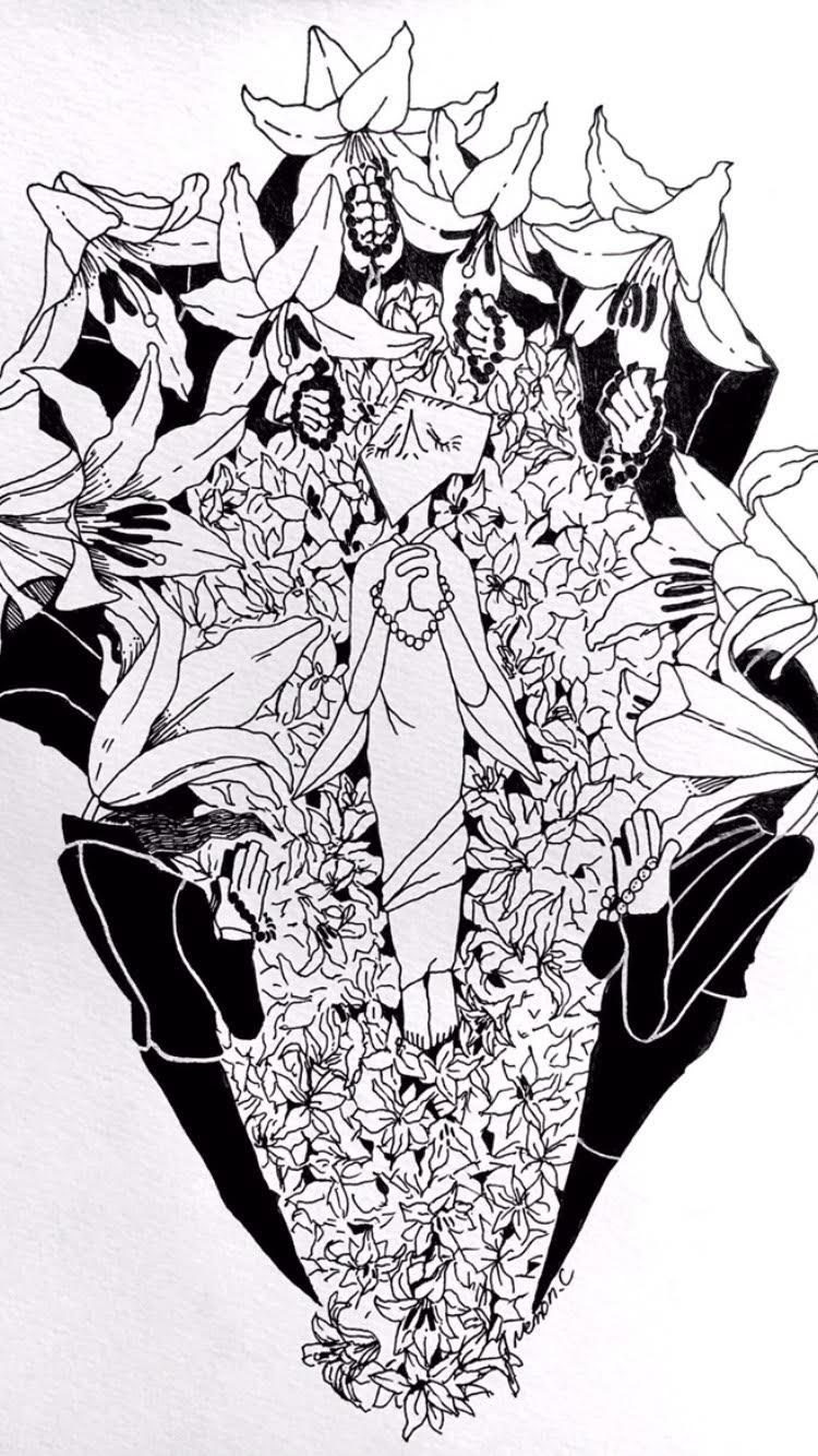 モノクロ中心イラスト(アナログ) | スキマ - スキルのオーダーメイド