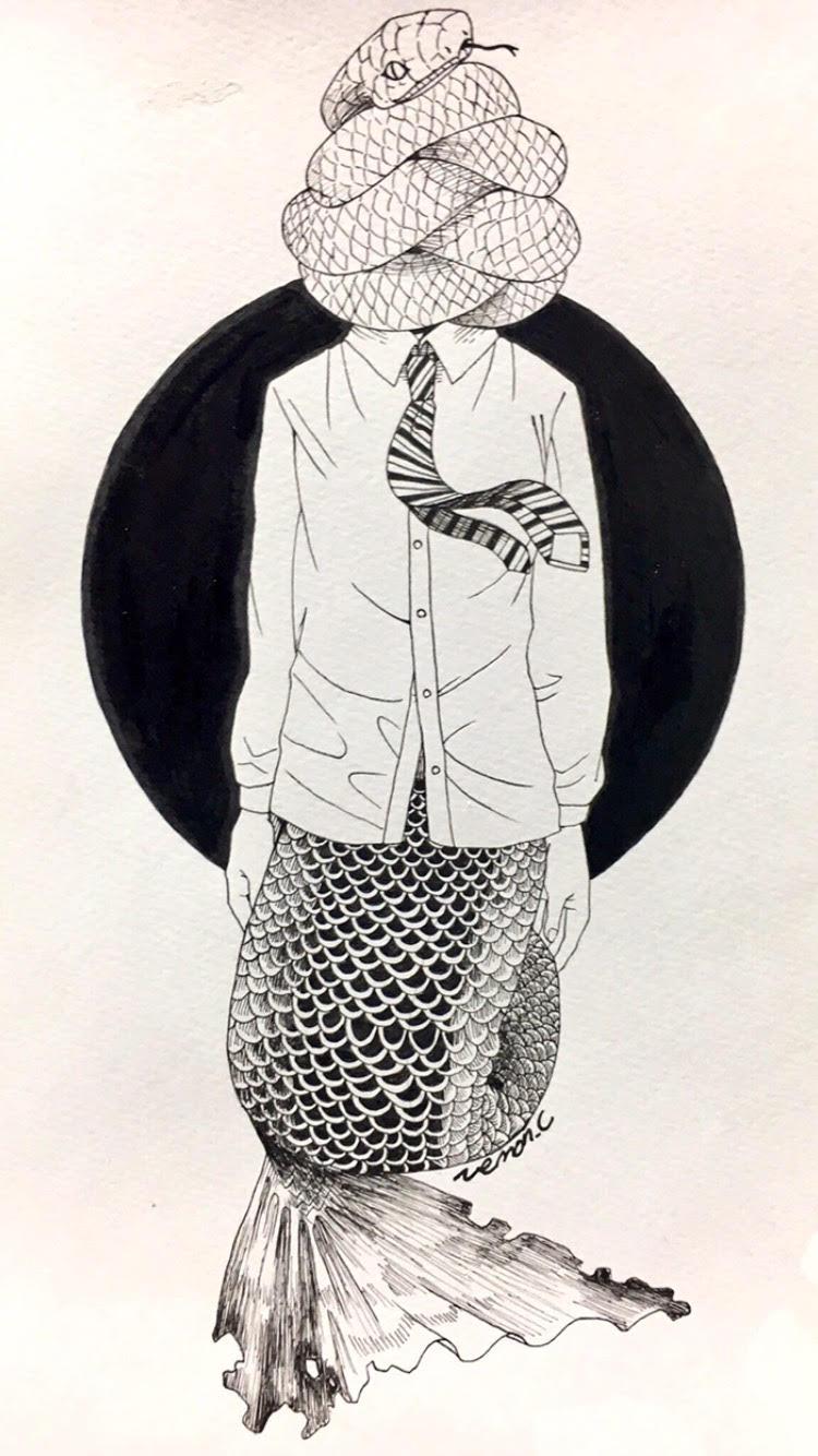 モノクロ中心イラスト(アナログ)   スキマ - スキルのオーダーメイド